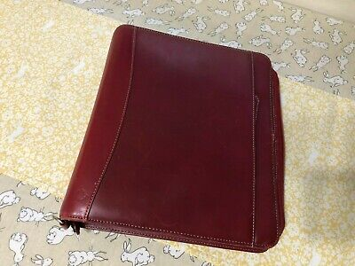 Franklin Covey Real Leather 7 Ring Zippered Planner Binder With Handles Burgundy