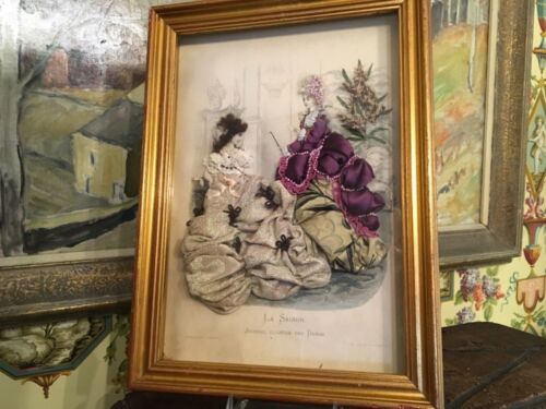 Antique French Victorian Fashion Shadow Box Ladies Parisienne Paris Circa 1890s