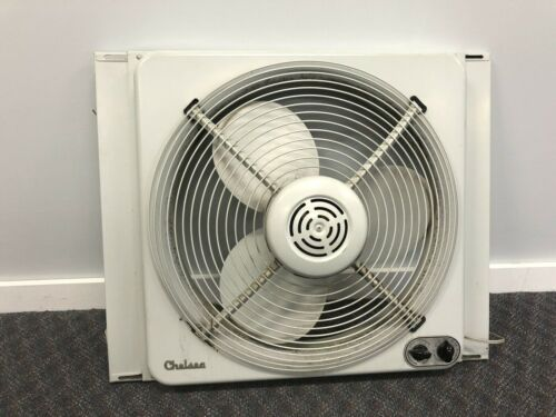 Vintage WINDOW FAN 2 speed exhaust In Out Thermostat metal mid century gray box