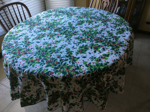 """Christmas Tablecloth with Holly and Berry 68"""" Round"""