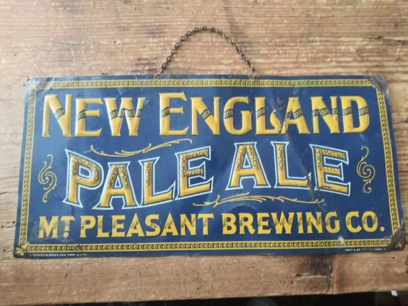 VTG New England Pale Ale Mt. Pleasant Brewing Co. Embossed Tin Litho Sign PrePro
