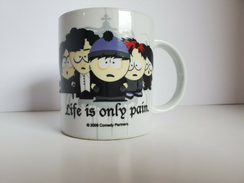 South Park Coffee Mug Life is Only Pain Goth Kids Emo 2009 Comedy Central. Vinta