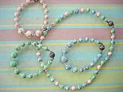 Vintage? Pink Blue Green Glass Beads Magnetic Clasps Necklace & 3 Bracelets SET