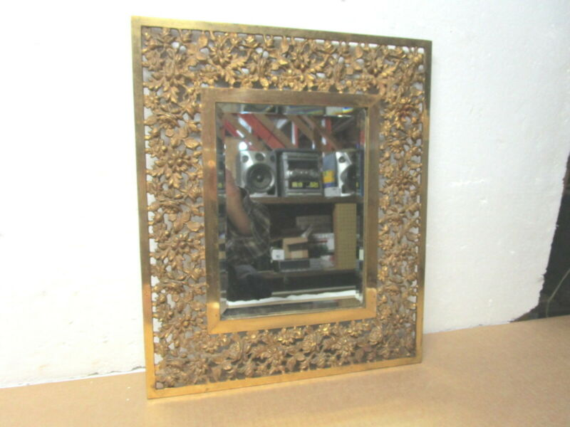 "Antique Bradley & Hubbard 14"" X 16""  rectangular ornate cast iron gilded mirror"
