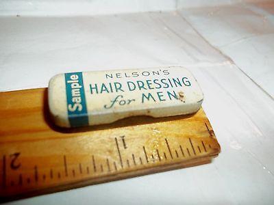 vintage rare tiny SAMPLE NELSON'S HAIR DRESSING For Men tin