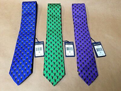 (NEW POLO RALPH LAUREN Repeat Martini Bear Silk Narrow Tie Blue/Purple/Green)