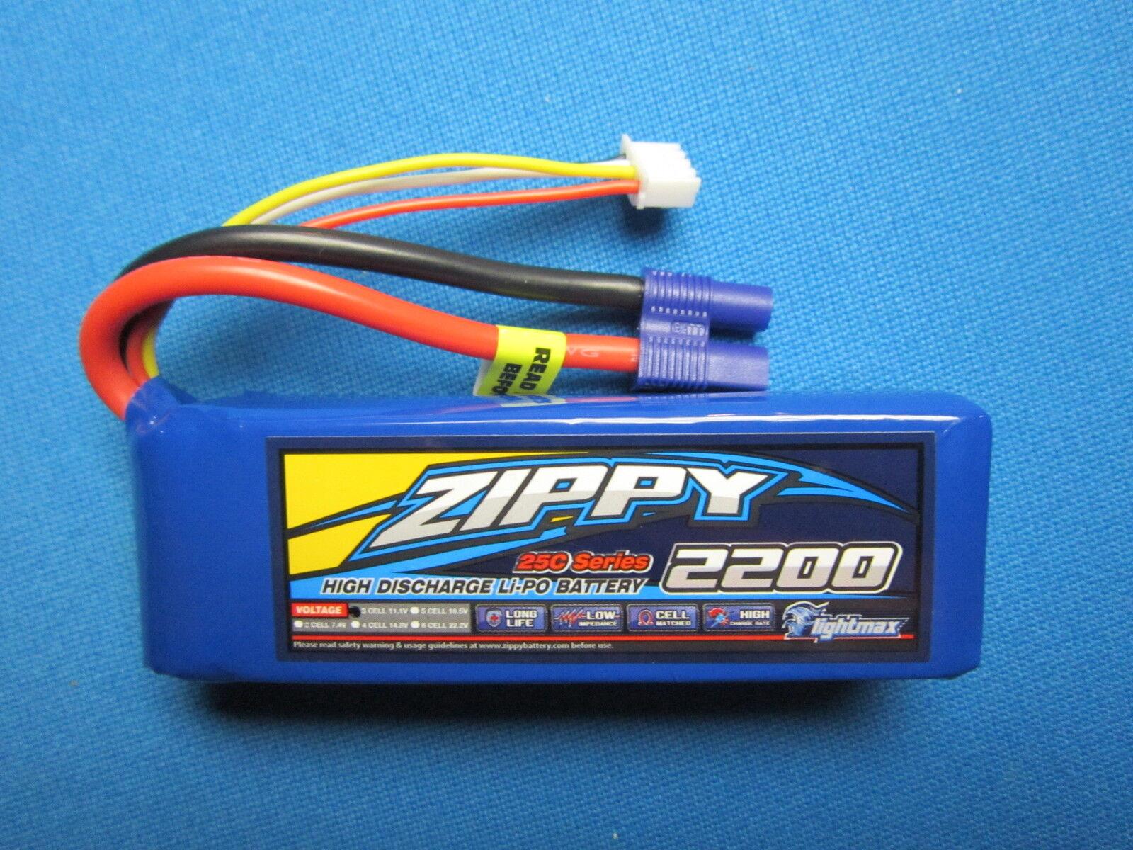 ZIPPY 2200mAh 3S 11.1V 25-35C LIPO BATTERY EC3 E-FLITE BLADE