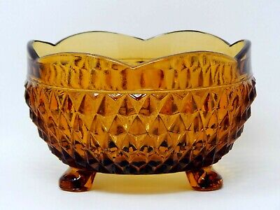 Amber Yellow Depression Glass Footed Bowl 5