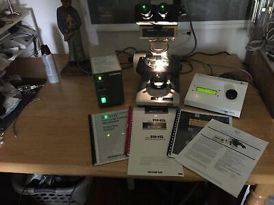 Olympus Bh-2 Fluorescent Microscope System 41040100x Fitc Dapi Tritc Cubes