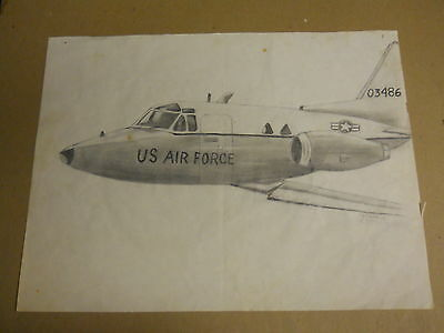 Vintage Pencil Drawing of USAF T-39 Sabreliner, used for sale  Shipping to Canada
