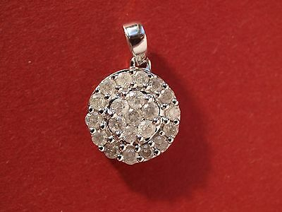 9ct White Gold Diamond Cluster Pendant NEW