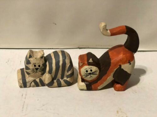 Hand Carved Wooden Cat Mini-figure set of 2