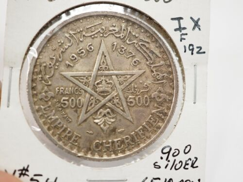 1956 Morocco 500 Francs SILVER COIN Y-54 One year type Mohammed V F 192