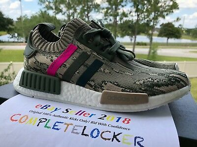 242aac64c2a11 New Adidas NMD R1 PK Japan Camo Womens BY9864 Green Pink Primeknit Shoes SZ  10