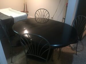 Solid wood and rod iron dining set