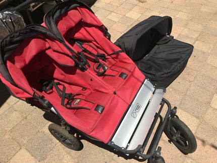 Mountain Buggy Twin Pram with basinet attachment