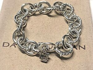 df3921a21ed8 David Yurman Sterling Silver Large Oval Cable Link Chain Bracelet 12mm