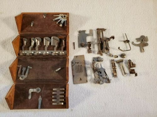 Antique 1889 Patent Singer Sewing Machine Attachments in Wood Puzzle Box