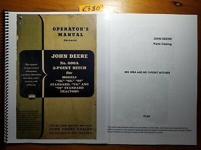 John Deere 800A 3-Point Hitch for 50 60 70 Tractor Owner Operator Manual +