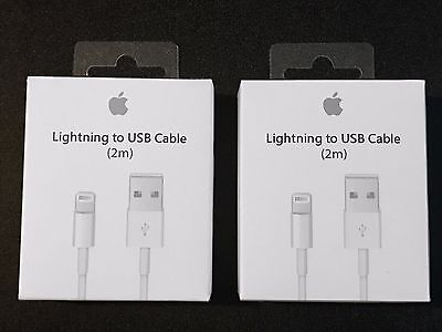 2 Extra-Long Genuine Original Apple Lightning USB Charger Cable iPhone 7 6 6s 5s