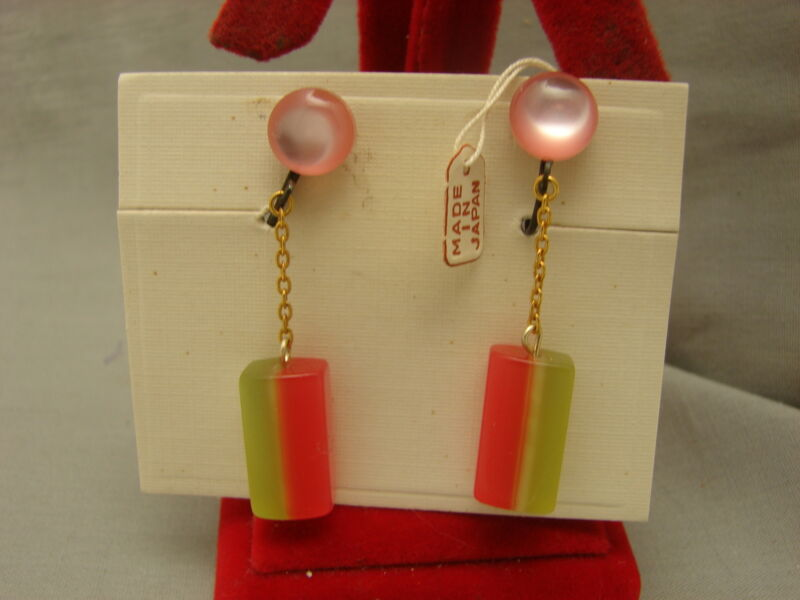 Vintage Pink & Green Opalescent Moon Glow Lucite Dangle Clip Earring Orig Card