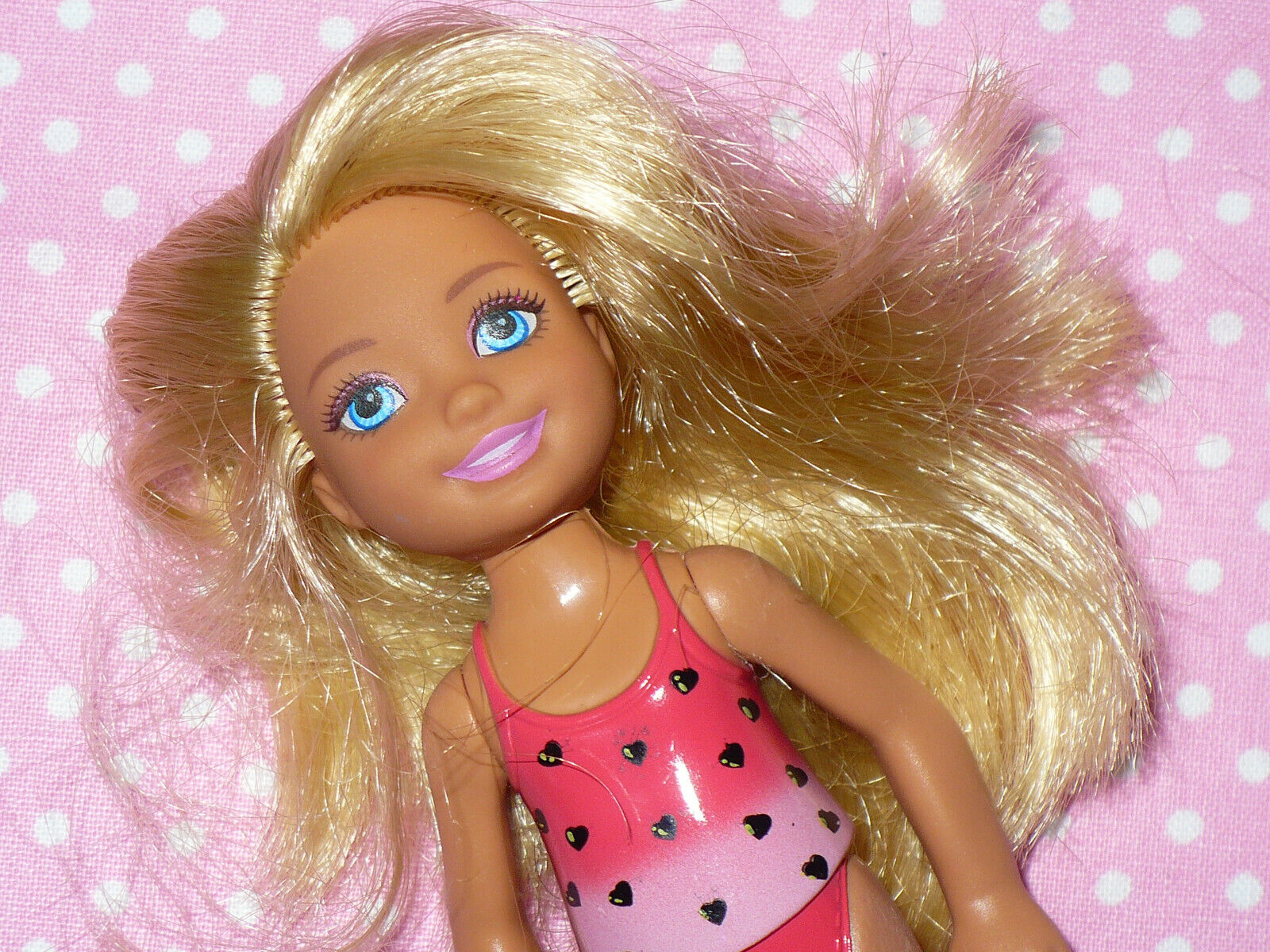 Mattel Barbie KELLY TOMMY CHELSEA Doll PINK PERMANENT CLOTHING Blue Eyes  - $7.99