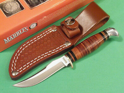 MARBLES MR396 SMALL HUNTER Stacked Leather fixed blade knife 6 1/4