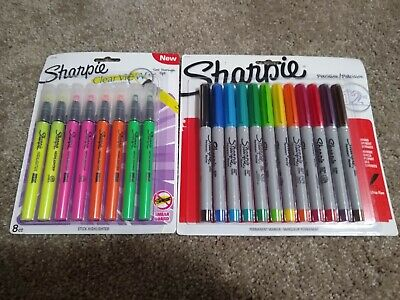 Sharpie Ultra Fine Point Markers 12 Assorted Colors Highlighter Clear View Lot