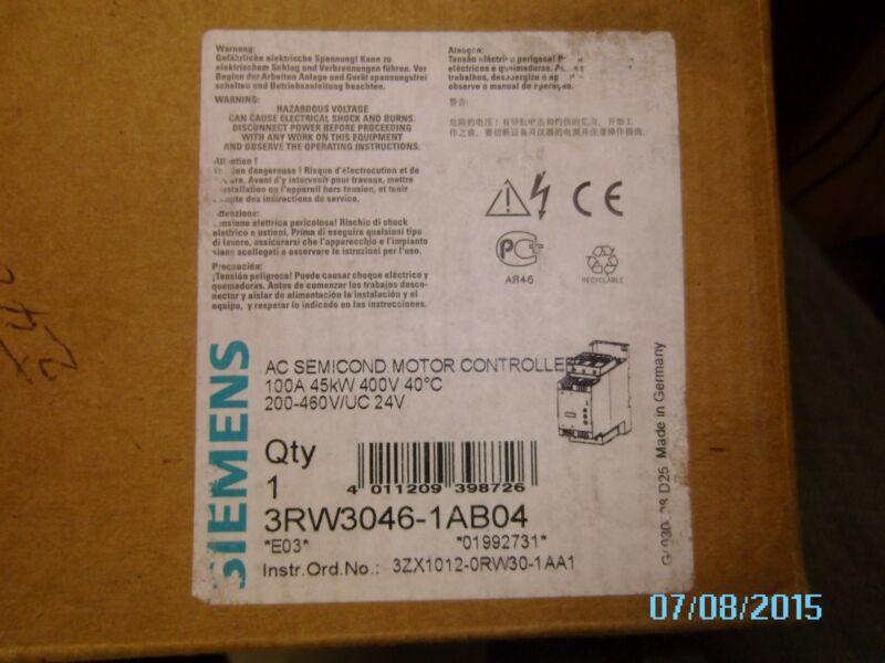 SIEMENS AC SEMICONDUCTOR MOTOR CONTROLLER 3RW3046-1AB04