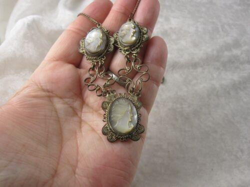 Antique Silver Cameo Necklace