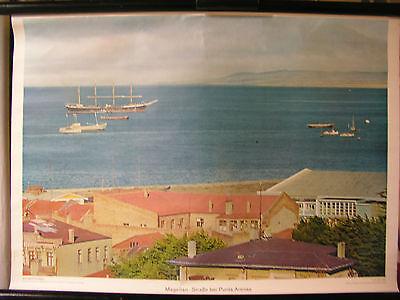 Schulwandbild Mural Image Ship Magellan Street Punta Arenas South America 72x52