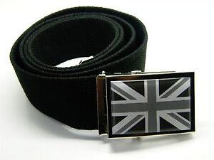 UNION JACK BADGE CANVAS WEBBING BELT BLACK WHITE UK FLAG WEB MED OR LONG