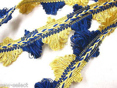 3.6mts Blau Gelbgold & Lüfter Edge Trimmen 4cm Vorhangstoff