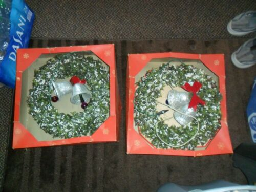 2 Vintage  Ringalite Christmas Wreaths with Light Up Bells Original Boxes 14""