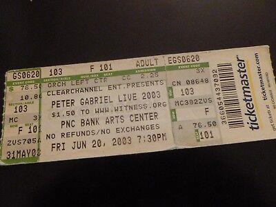 Peter Gabriel 2003 Concert Ticket Stub Pnc Bank Arts Center NJ