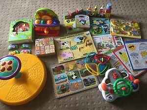 Wooden puzzles, blocks and toys.