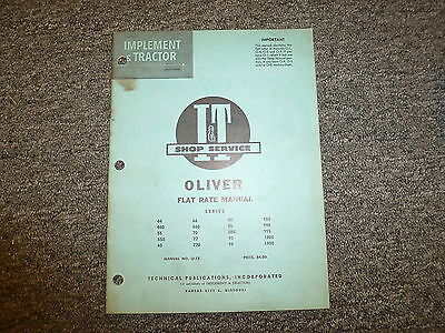 Oliver 950 990 995 1800 1900 80 88 880 90 99 66 660 70 Tractor Flat Rate Manual
