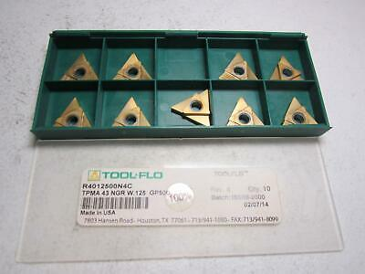 Tool-flo R4012500n4c Tpma 43 Ngr W.125 Gp50c Threading Inserts - Pack Of 9
