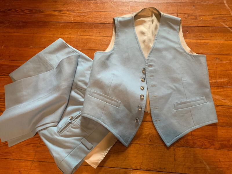 Vtg 50s Gaberdine Wool  2pc Drop Loop pants Waistcoat 6 Bttn Vest Blue 41 R