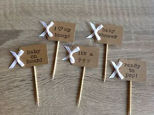 Personalised Baby Shower Cupcake Toppers Picks Flags Baby Boy Girl Unisex Bows