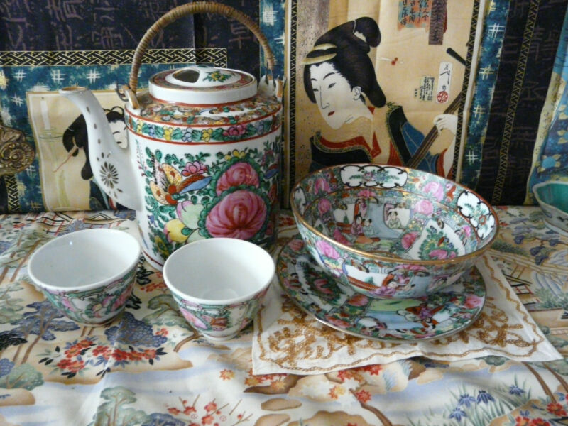 Nice Lot of Chinese Famille Rose Porcelian Tea Items
