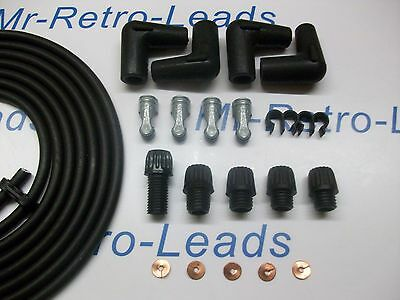 BLACK 7MM COPPER CORE TINNED IGNITION LEAD KIT 3 METERS HT KIT CAR OLDER CARS