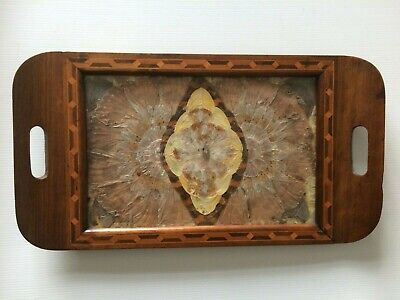 Vintage Brazilian Wooden Inlaid Butterfly Wing Tray Circa 1945
