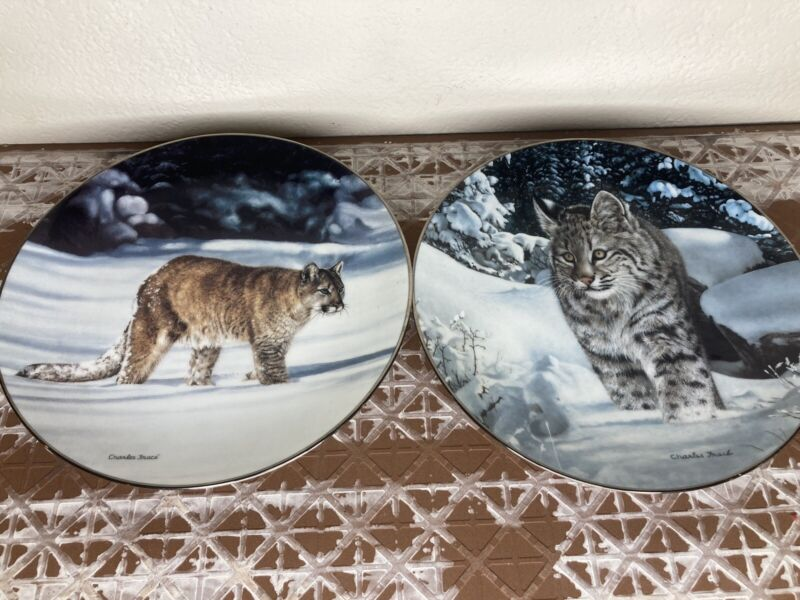 W.S George Bradex Collector Plates American Cougar and The Quest 90s Vintage