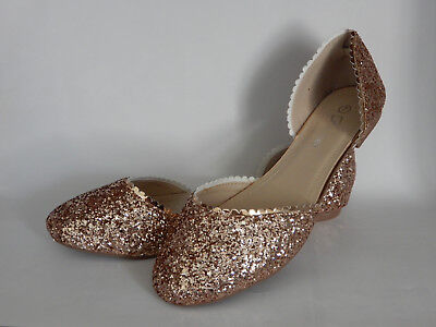 New women's shoes ballerina ballet flats round toe glitter Rose Gold Size 5 ~10