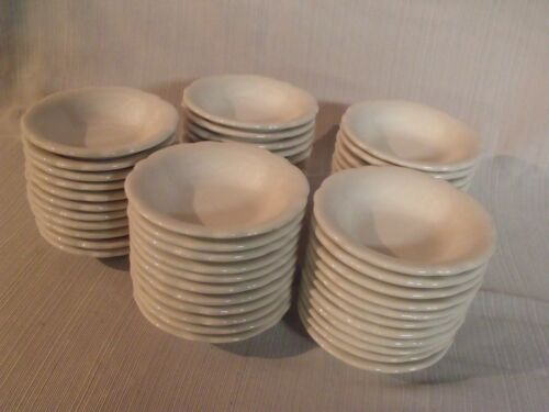 "SET OF (54) RARE WHITE SCALLOP EDGE 4 3/4"" BUFFALO CHINA BERRY BOWLS ~ NOS"