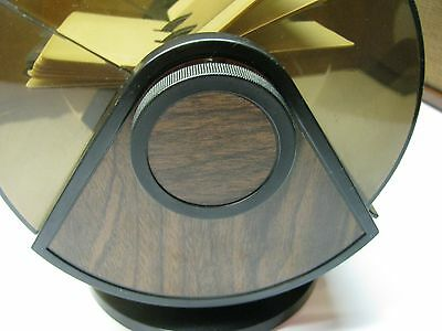 Vtg Rolodex Sw-24c Space Age Swivel Base Smoke Dome W Cards Organizer Wood Usa