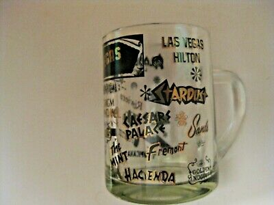 OBSOLETE VINTAGE CASINO ADVERTISING GLASS MUG ~ MANY DEFUNCT CASINOS ON HERE ~