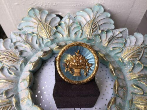 Antique Victorian 14K Blue Green Guilloche Enamel Seed Pearl Pendant