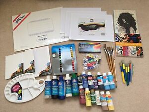 Assorted lot of art supplies